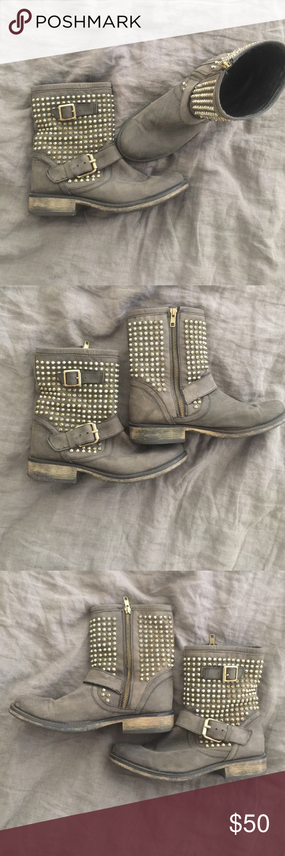 Steve Madden Boots 8.5. Great condition. Distressed black with soft gold details Steve Madden Shoes Combat & Moto Boots