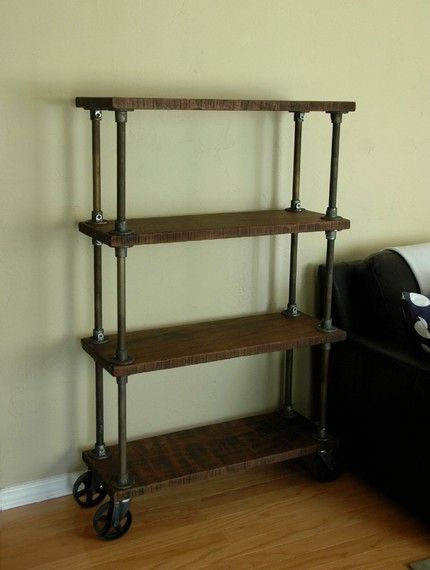 Industrial Bookshelf Unique Custom Made 4 Tier Bookcase On Heavy Duty 5 Cast Iron Caster Wheels He Entire Piec Industrial Bookshelf Bookshelves Unique Decor