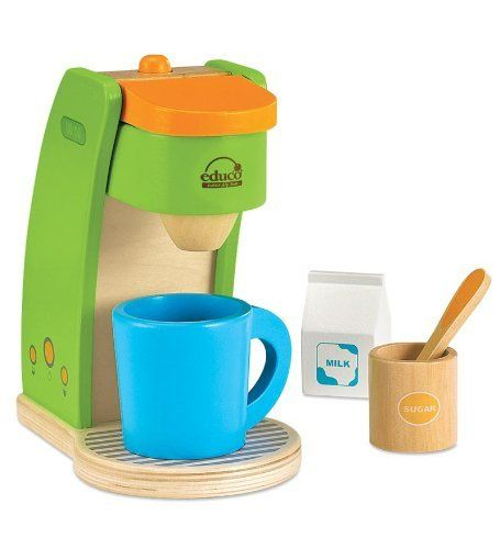 Durable Wooden Coffeemaker With 4 Fun Accessories By Hape