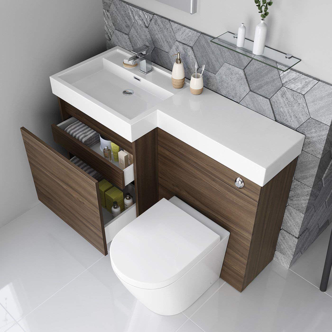 1200mm Walnut Vanity Unit Round Toilet Bathroom Sink Left Hand
