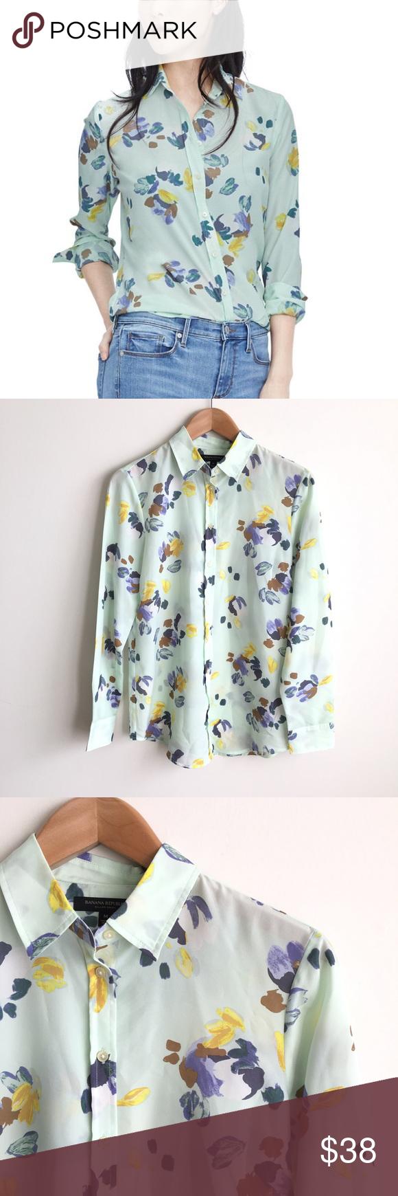 490ff236 Banana Republic Dillon Floral Button Down Shirt 100% polyester ...
