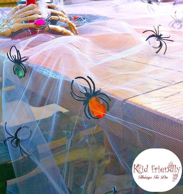 Easy & Inexpensive DIY Spooky Halloween Tablecloth Craft