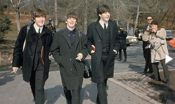 John Lennon Ringo Starr And Paul Mccartney Walk In Central Park On Feb 10