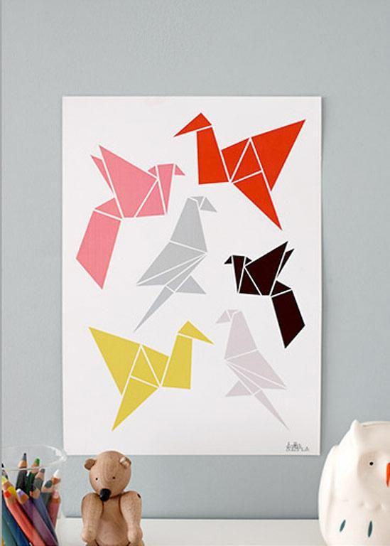 die sch nsten poster und drucke falt v gel origami birds von dottir and sonur basteleien. Black Bedroom Furniture Sets. Home Design Ideas