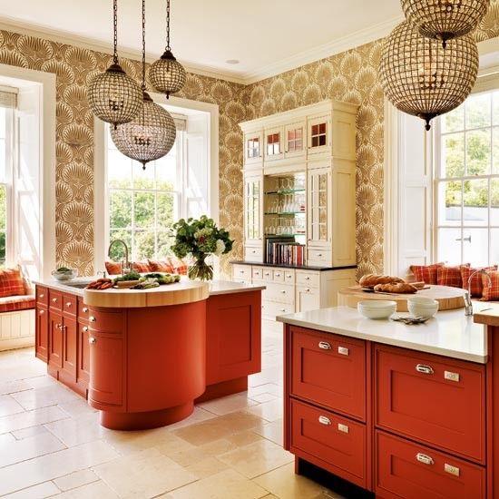 tapeten in der küche ideen farbe textur orange pendelleuchten