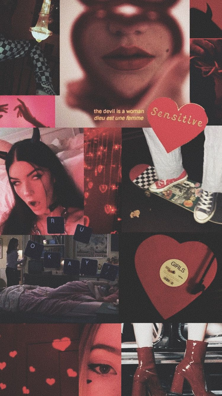 black and red edgy skater egirl aesthetic iphone