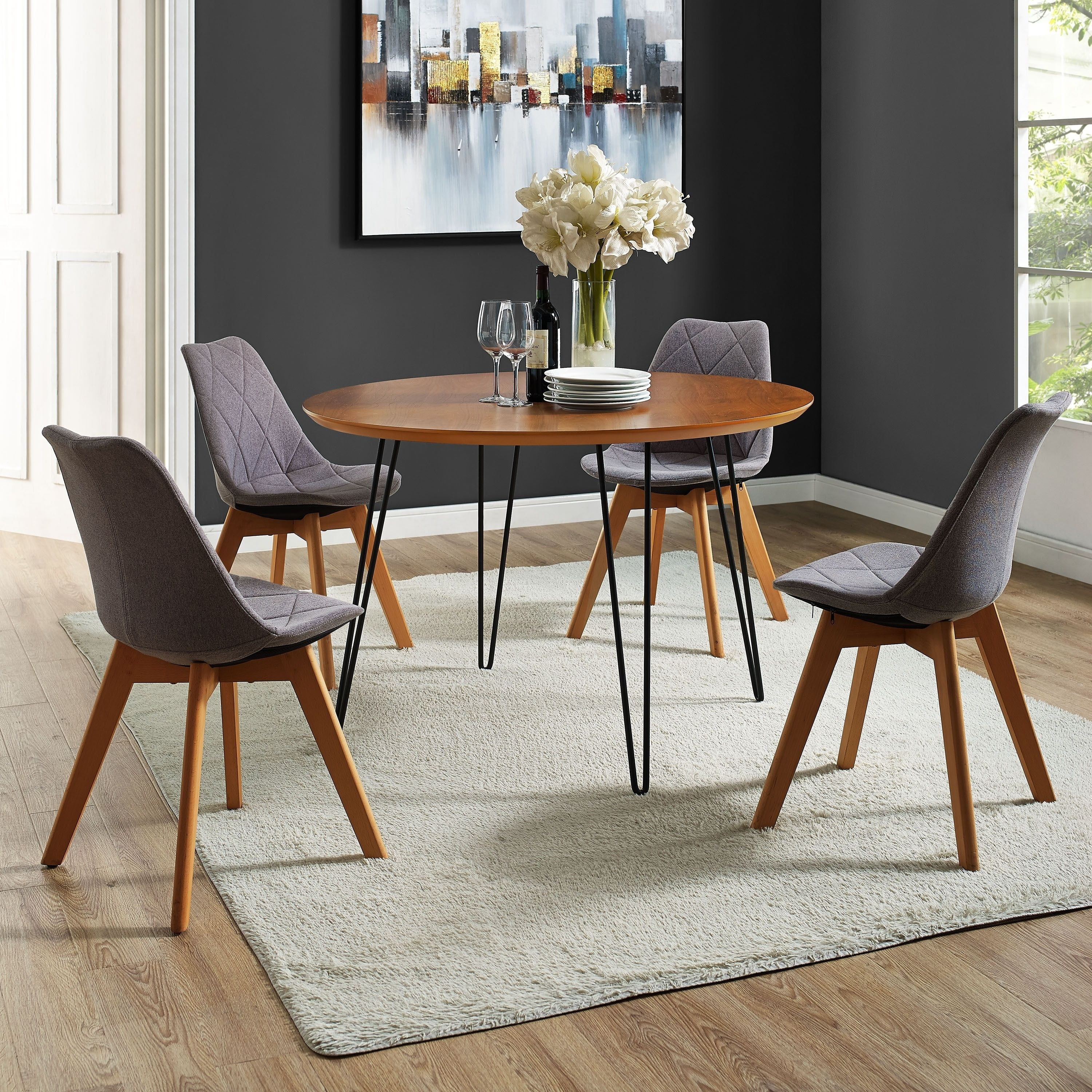 46 Inch Round Table.Palm Canyon Granito 46 Inch Round Hairpin Leg Walnut Brown Dining