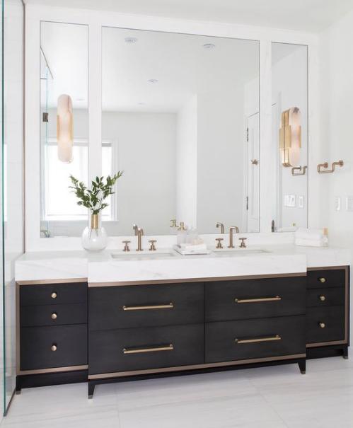 Double Vanity Medicine Cabinets Marble Hex Tile Floors Bathroom Vanity Designs Small Bathroom Remodel Small Bathroom Vanities