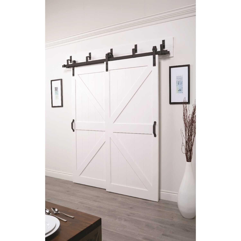 Wooden and Glass Door Hardware for Double Door Fit 21 Wide Door Panel CCJH 7 FT Stainless Steel Sliding Door Hardware Kit J Style