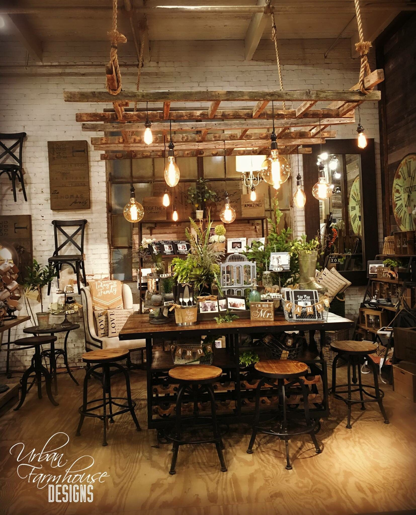 Rustic Dining Room Lighting: Love This Ladder Light Fixture Above The Table. In 2019