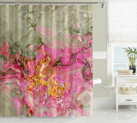 Jazz Up Your Contemporary Bathroom Decor With This Abstract Art Shower Curtain In Pink Yellow Sage And Gray Green My Curtains Are Individually
