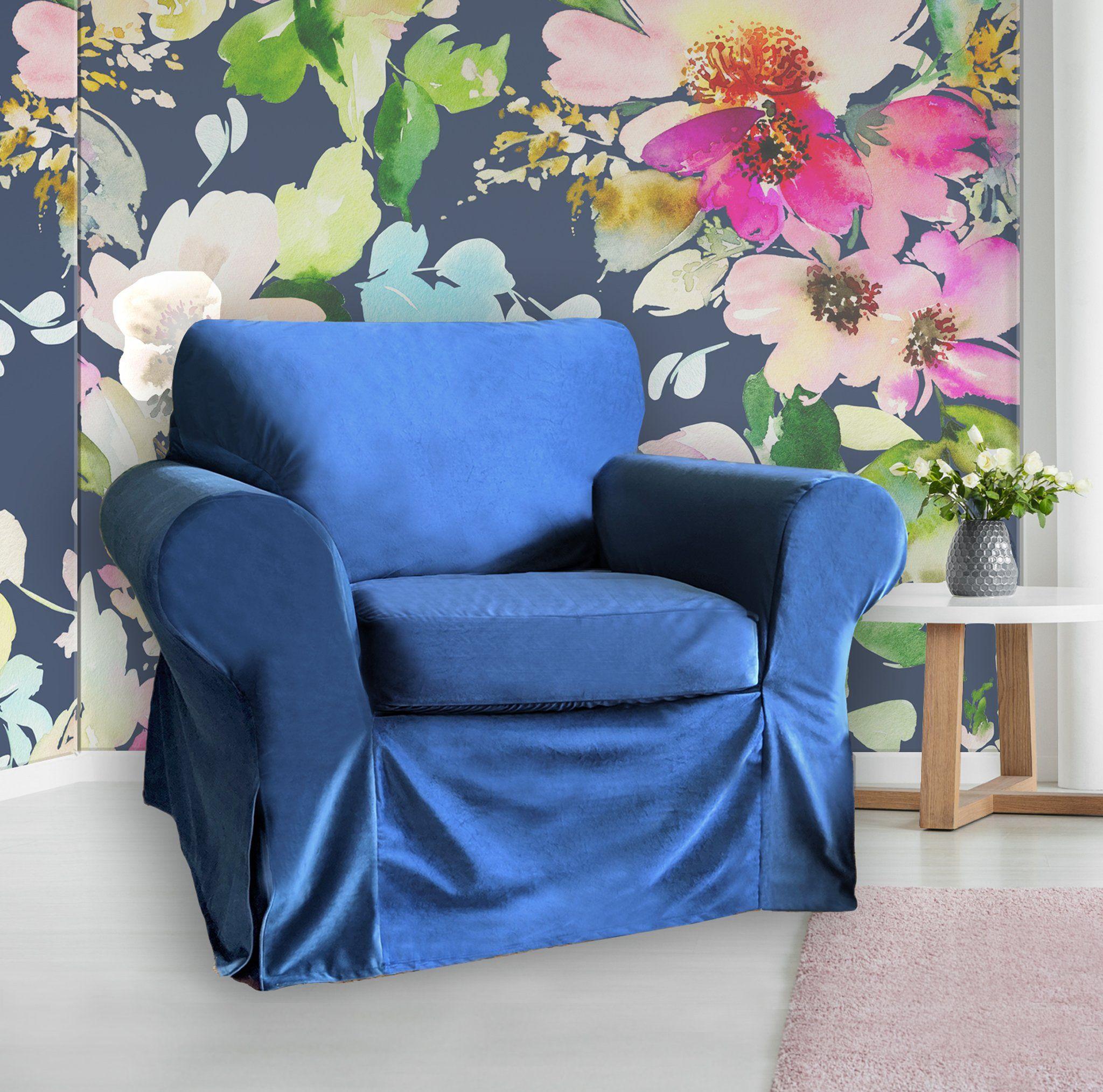 IKEA Ektorp Sofa Slipcover, Velvet Navy Blue in 2020
