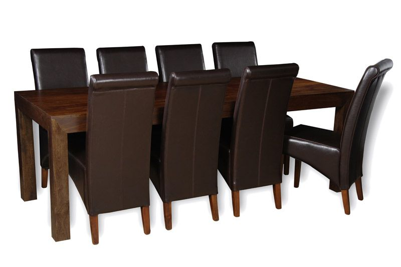 Mango 220cm Dining Table 8 Rollback Chairs Table Large Dining