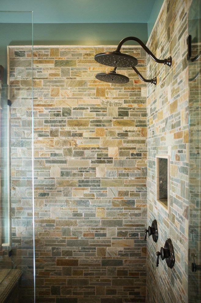 dual shower head decorating ideas for bathroom rustic design next ...