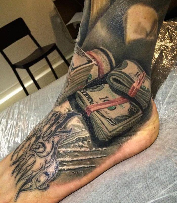 Tattoo Designs Under 100 Dollars: Foot Tattoo - $100 Bills