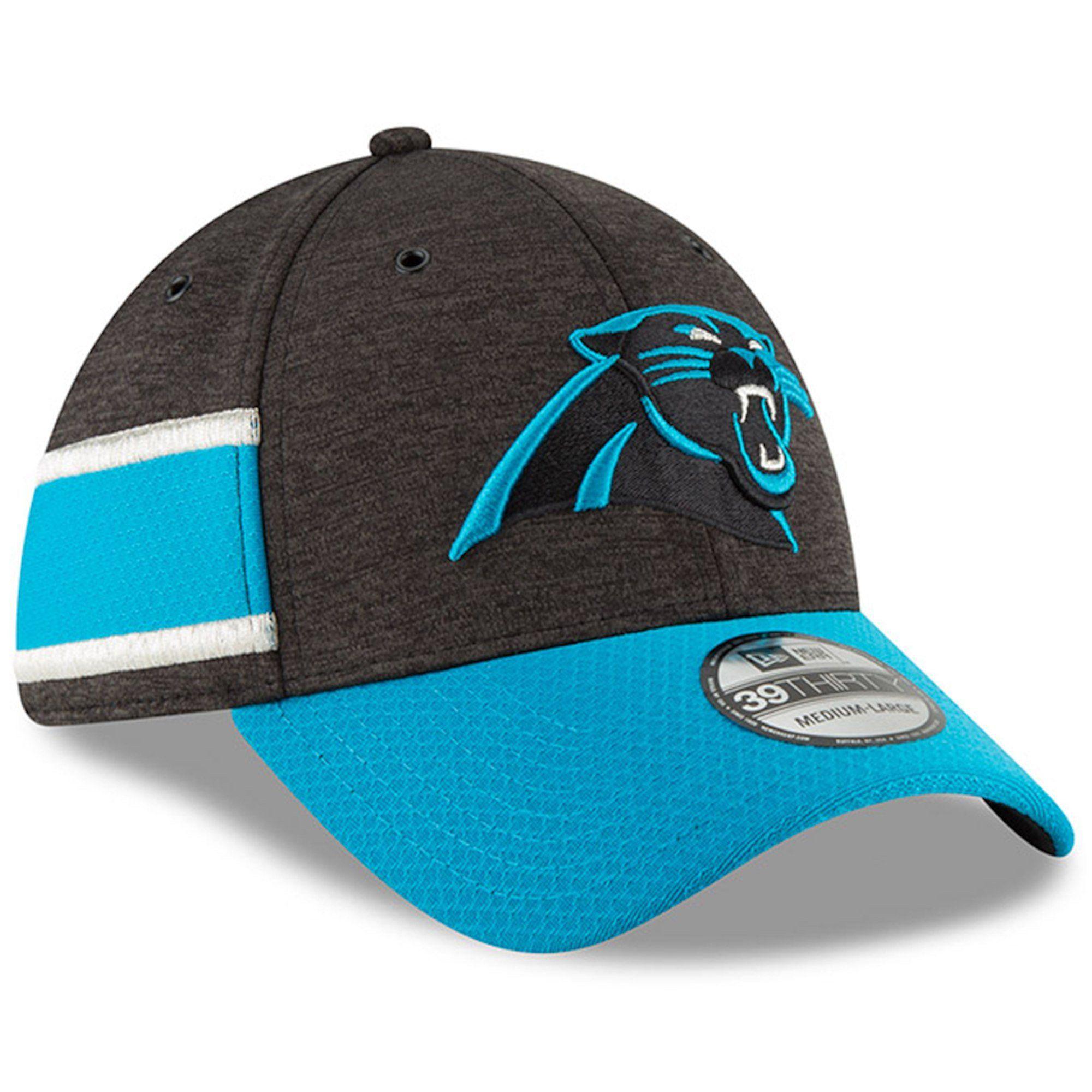 Men s Carolina Panthers New Era Black Blue NFL18 Sideline Home Official  39THIRTY Flex Hat 170721b52