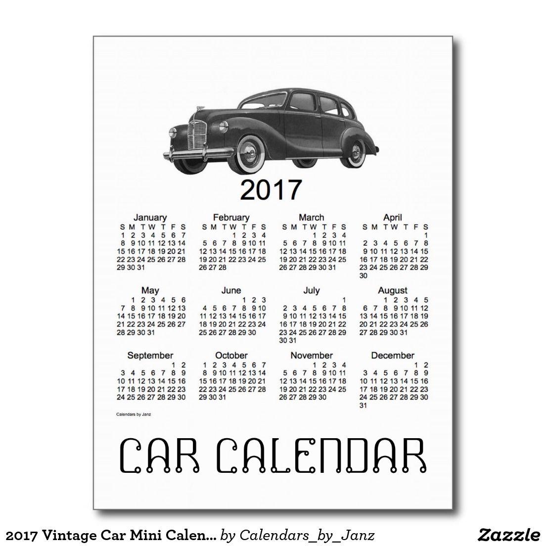 2017 Vintage Car Mini Calendar by Janz Postcard | 2017 Calendars ...