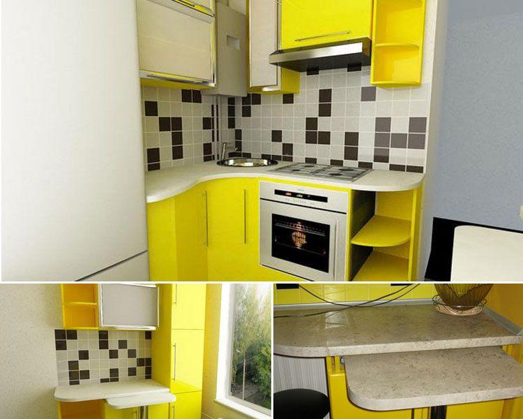кухня 7 кв с холодильником