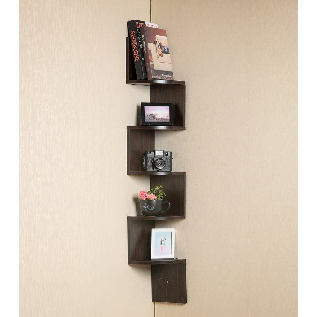 Corner Wall Book Shelf 5 Tier Black Floating Side Zig Zag Bookshelf 7 75 X 7 75 X 48 5 Wo Corner Wall Shelf Unit Corner Wall Shelves Wall Mounted Shelves