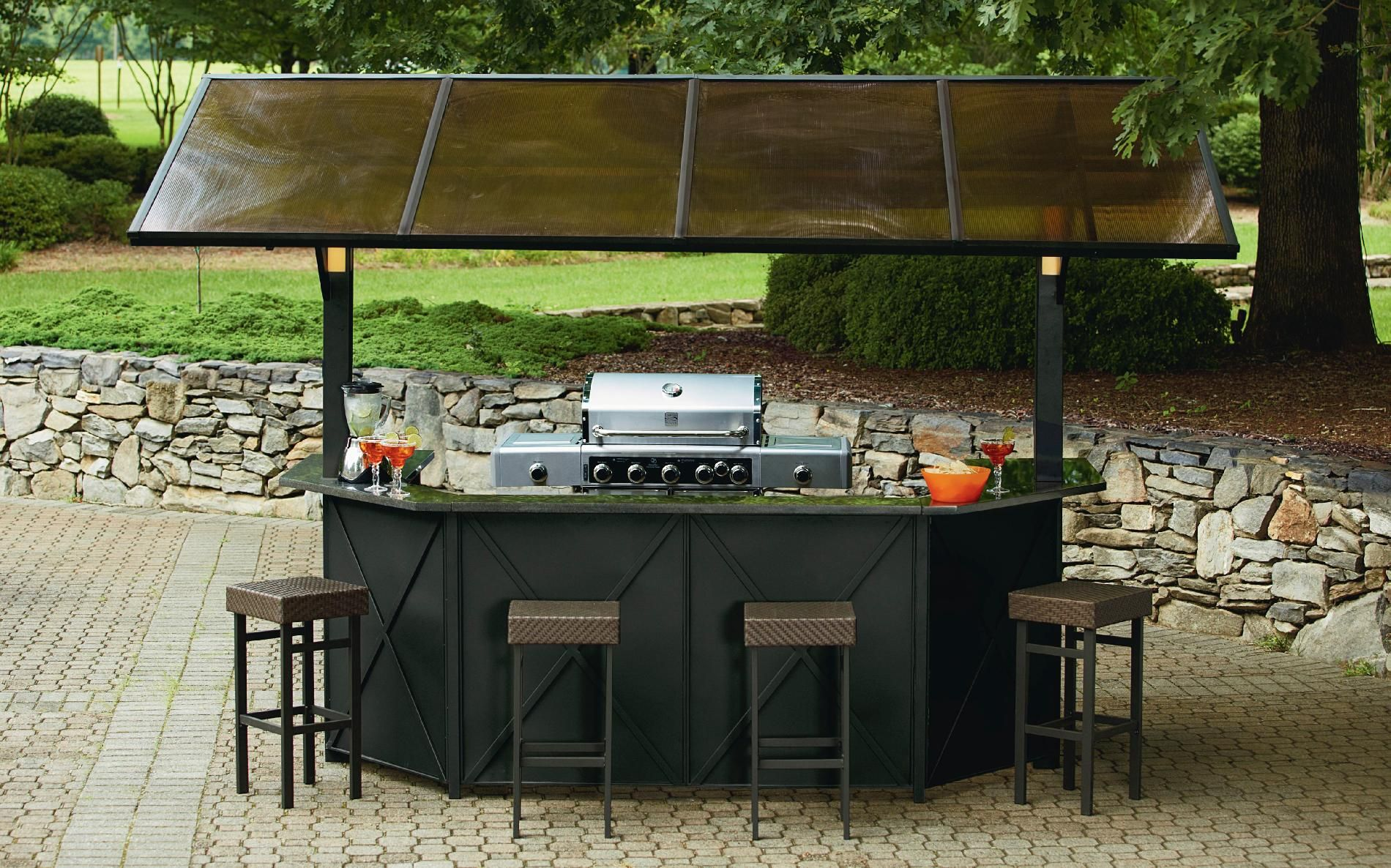 Ty pennington style sunset beach hardtop grill gazebo bar for Balcony bar restaurant