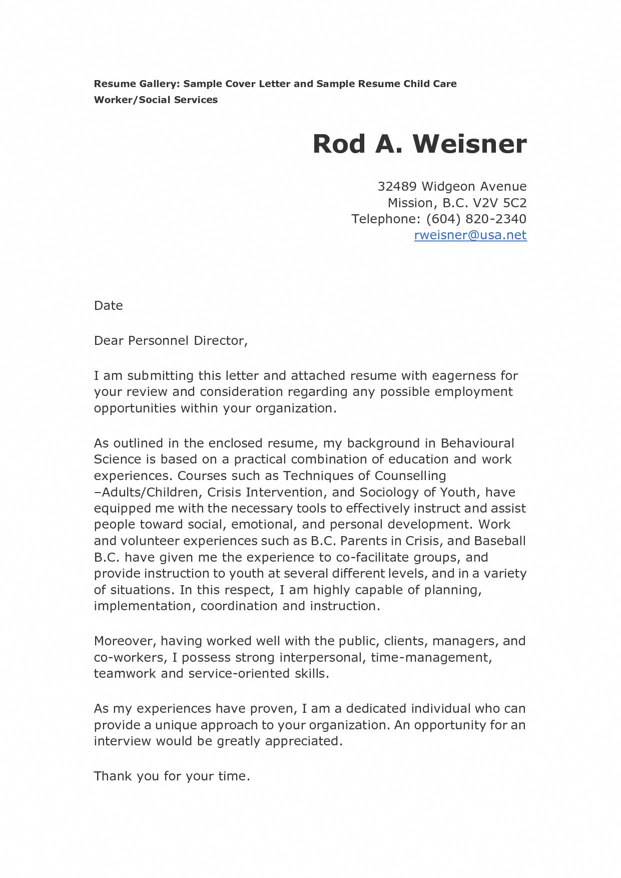 Child Care Cover Letter Australia