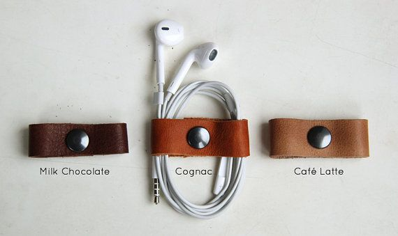 Ear phone cable organizer leather by rensz on Etsy