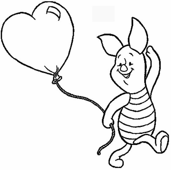 Piglet And Heart Shaped Baloon Coloring Page From Winnie The Pooh Category Select 27336 Printable Crafts Of Cartoons Nature Animals Bible Many
