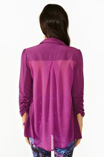 Chiffon Back Blazer - Violet