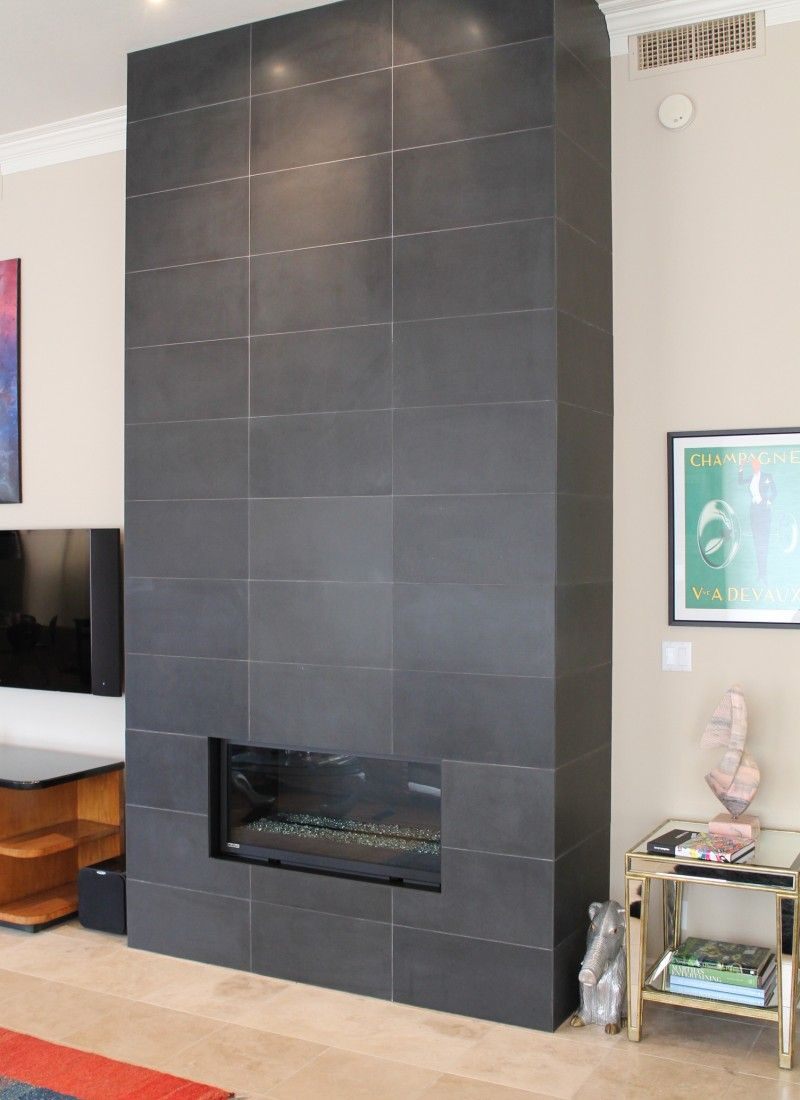 Dark Gray Tile Fireplace Google Search Fireplace Feature Wall