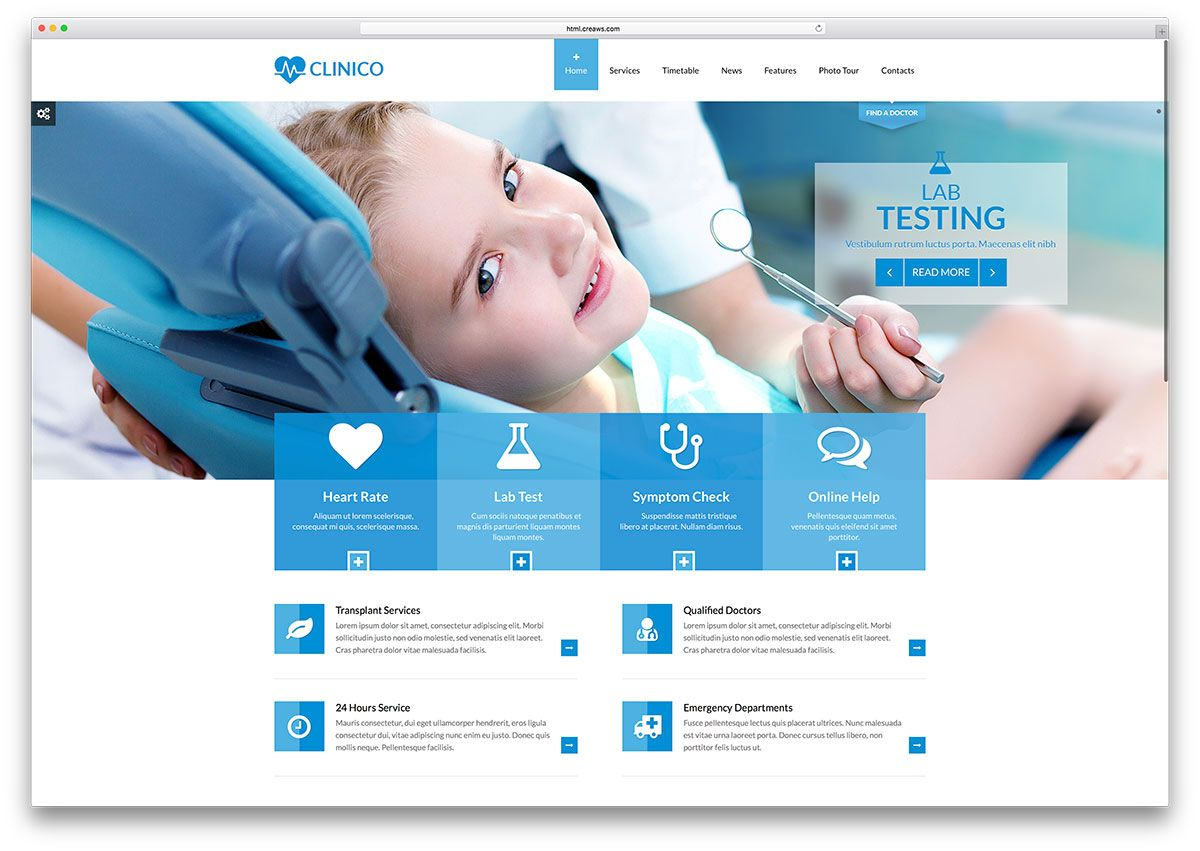 clinico-dentist-medical-website-template | websites referances ...