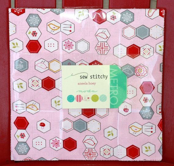 10 inch squares Layer Cake  SEW STITCHY Moda Fabric by quilttaffy, $32.95