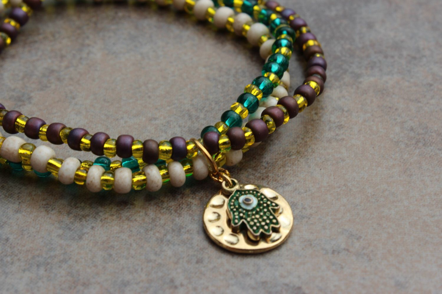 A personal favorite from my Etsy shop https://www.etsy.com/listing/259564178/shambala-bracelet-trio-hand-of-god-seed