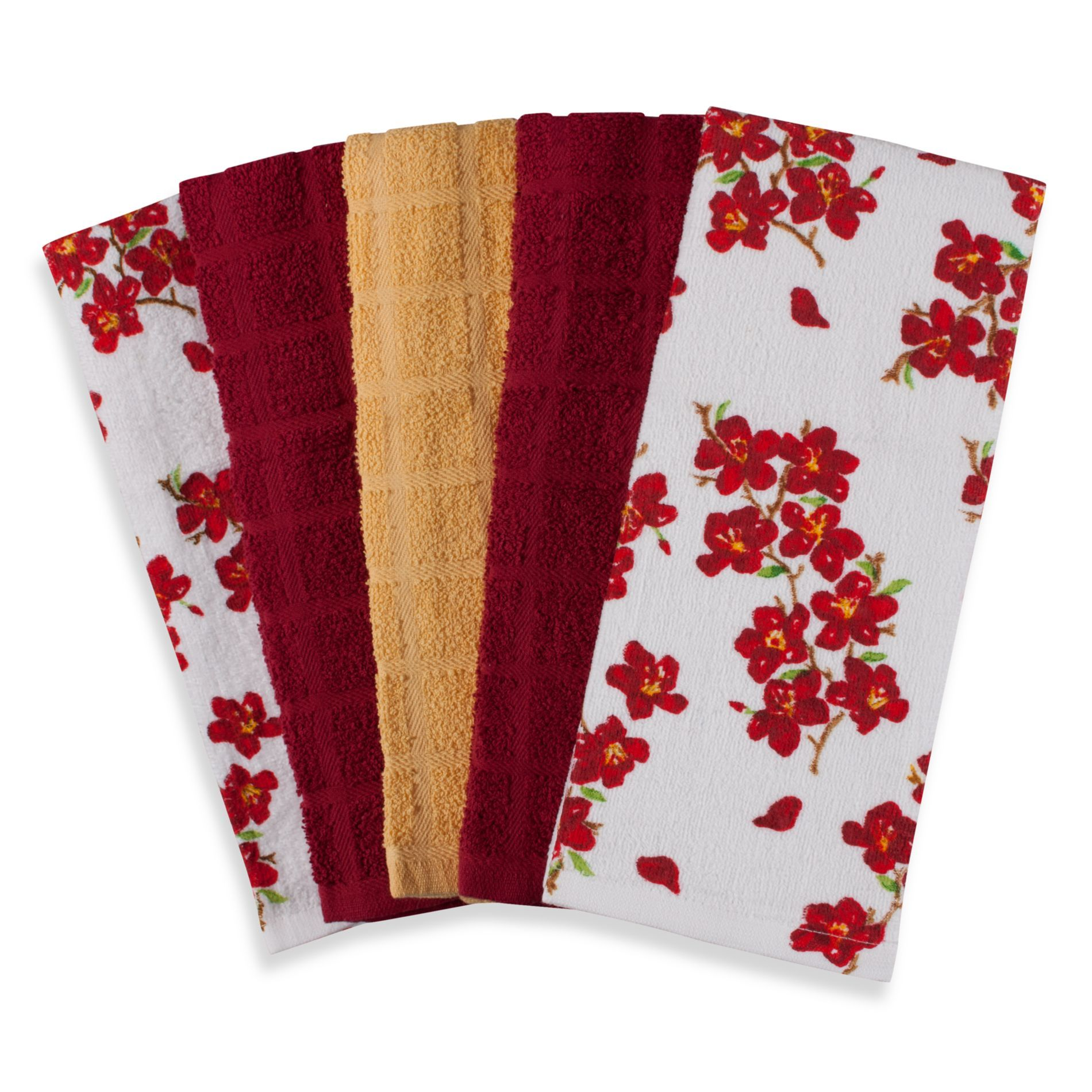 Flower 100% Cotton Terry Cloth Kitchen Towels in 5 Pack