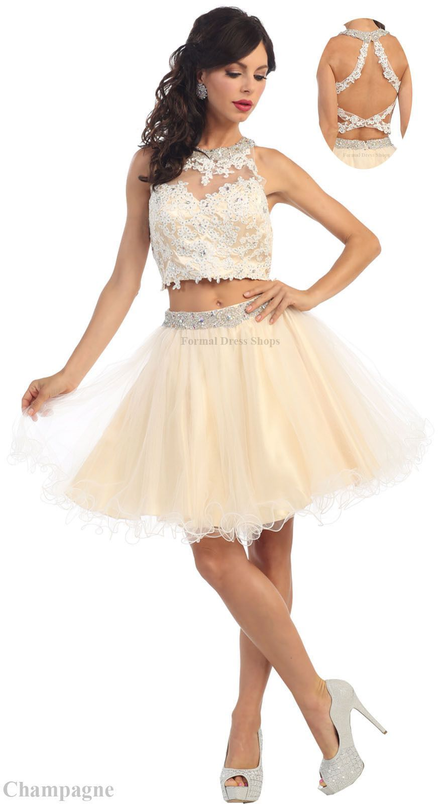 Short prom semi formal homecoming two piece cocktail dresses sweet