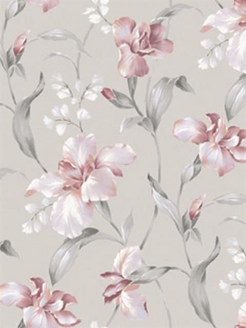 Ht71201 Lanai Wallpaper Book By Seabrook Sbk24424 Totalwallcovering Com Grey Floral Wallpaper Floral Wallpaper Pink And Grey Wallpaper