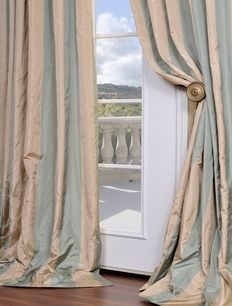 Orinda Faux Stripe Taffeta Silk Curtains Drapes Faux Silk