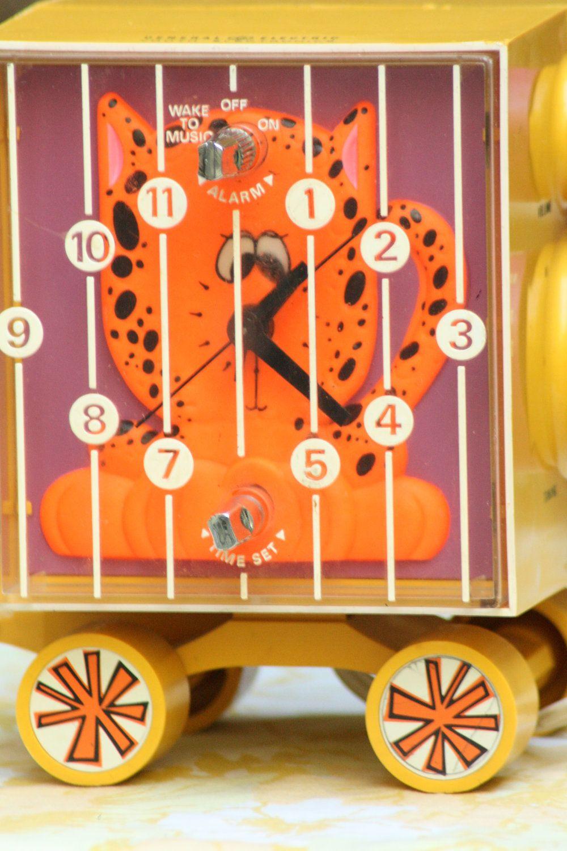 Vintage General Electric Youth Alarm Clock Neon Orange
