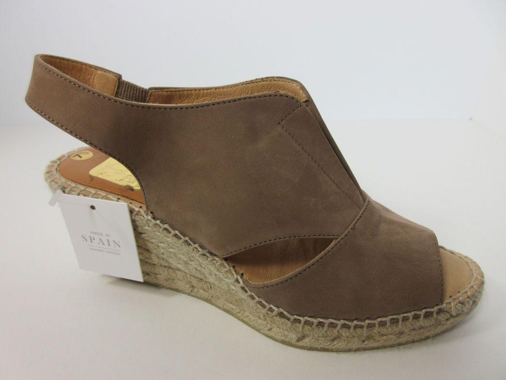 de244ac1ec0 Kanna Spain Womens Lyon Safari Fawn Brown Leather Wedge Platform Espadrilles  8 M