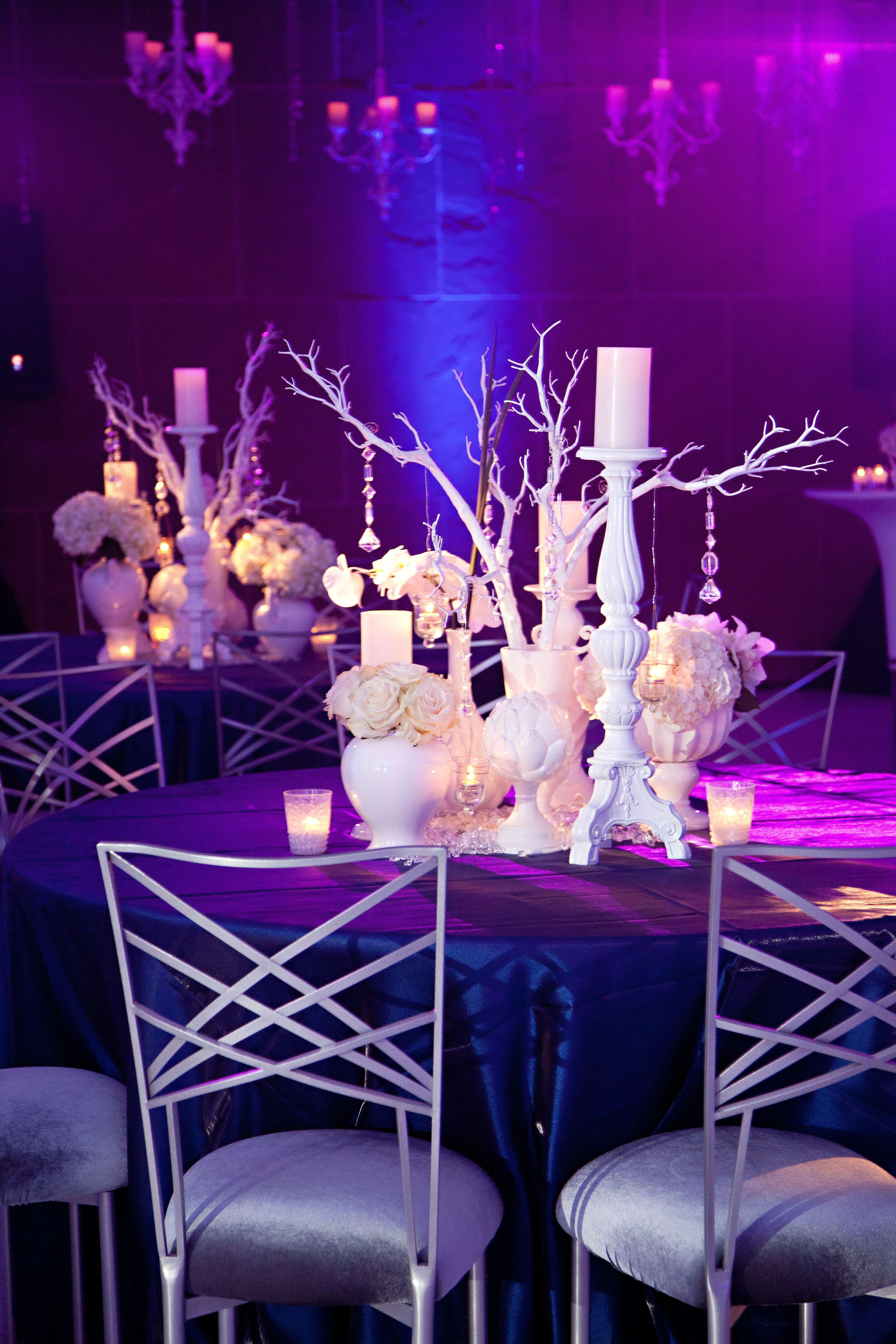 Reception uplighting and table decor idea. Modern wedding ...