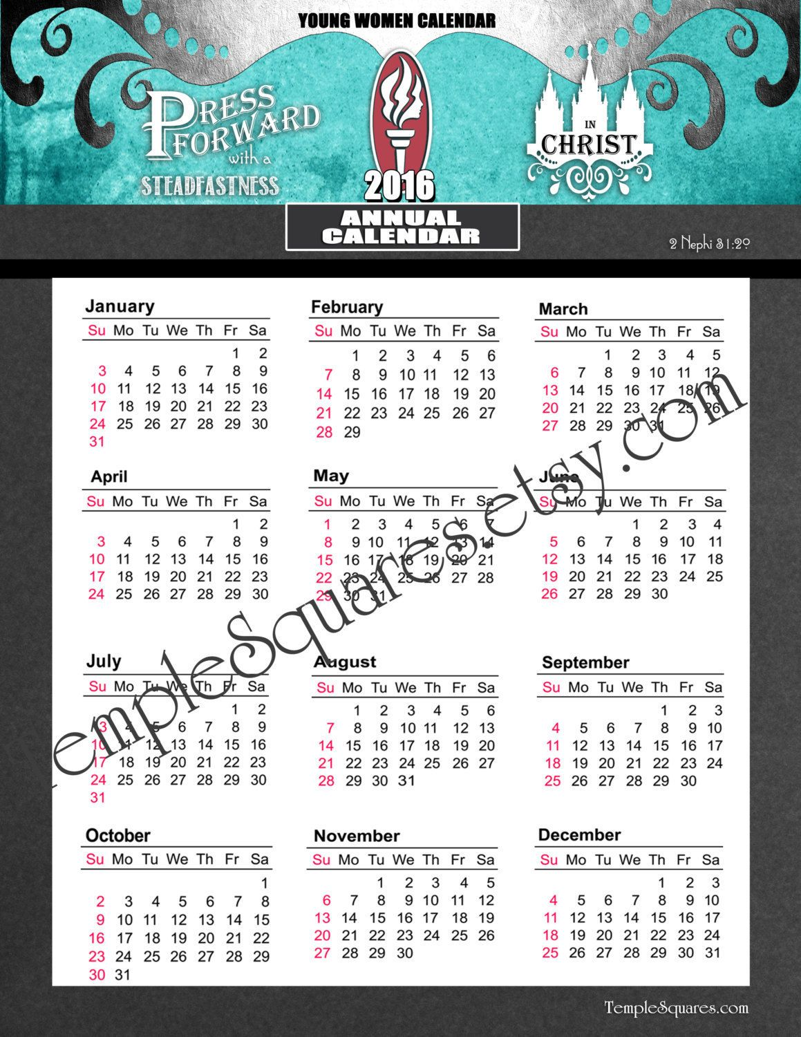 printable yw presidency 2016 calendar planner add on one page