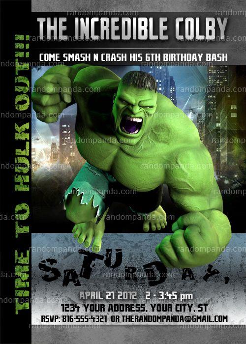 Incredible Hulk Invitation Incredible Hulk Party Hulk Birthday Invite Hulk Birthday Hulk Party Hulk Birthday Parties