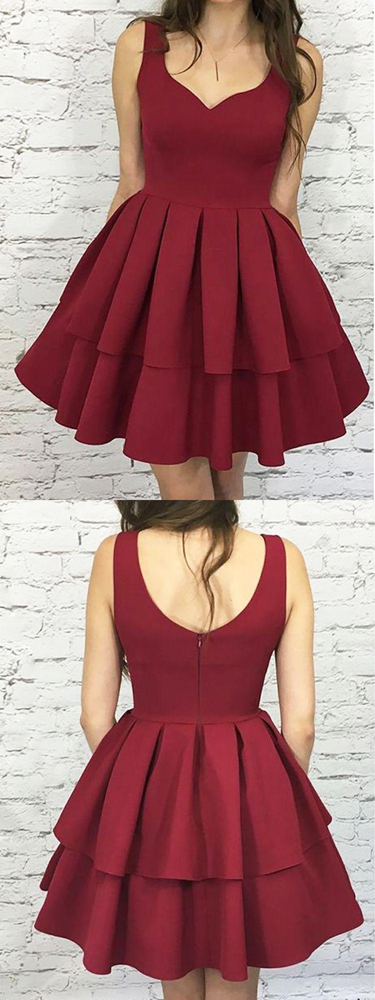 Cute a line v neck open back satin burgundy short homecoming dresses