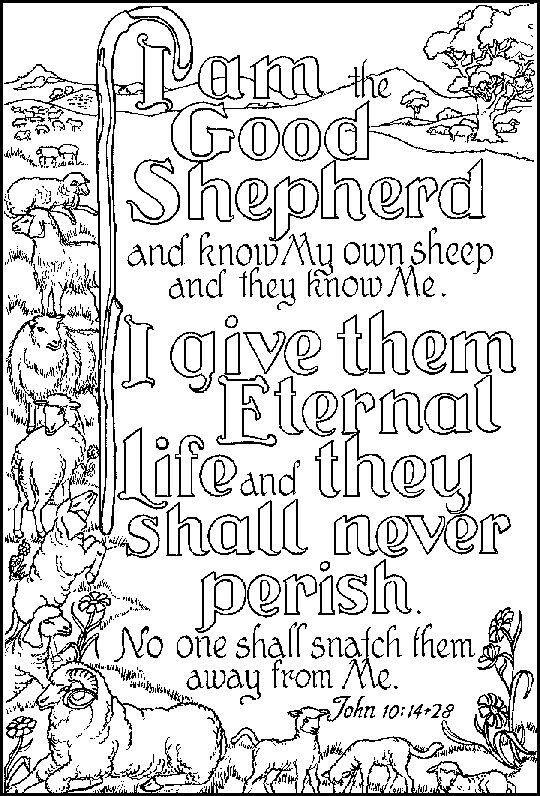 I Am The Good Shepherd John 10 14 28 Coloring Page Bible Verse
