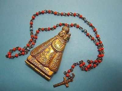 antique FIGURINE our LADY rosary BOX // tiny glass rosary // pocket size