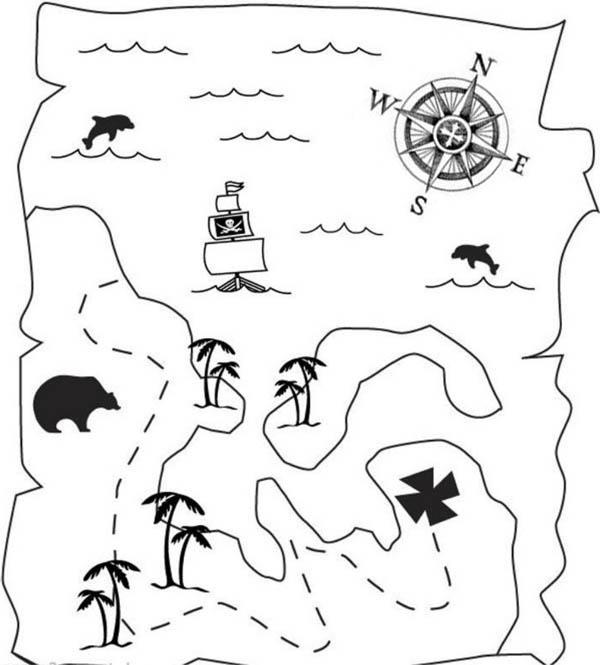 Treasure Map Of Great Pirate Treasure Coloring Page Kids