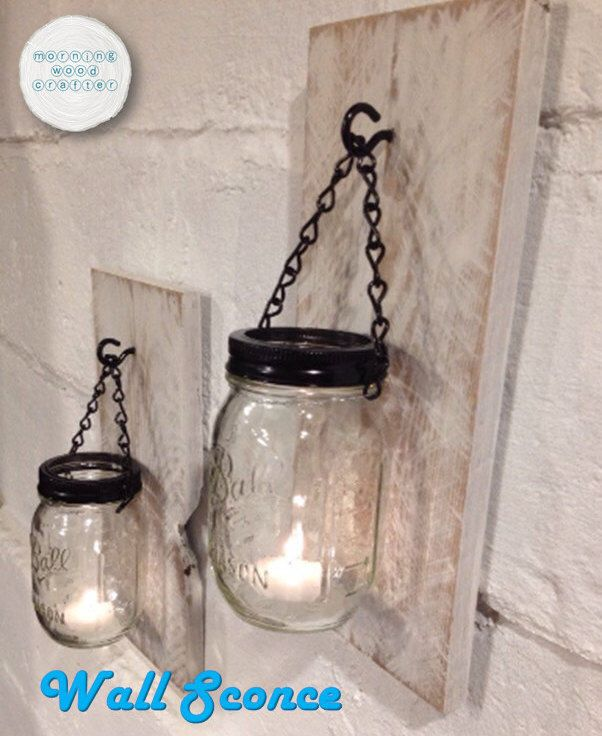 Rustic Mason Jar Candle Light Wall Sconce Mason Jar Sconce Rustic Sconce Wall Sc Mason Jar Candle Lights Mason Jar Sconce Rustic Mason Jar Candles