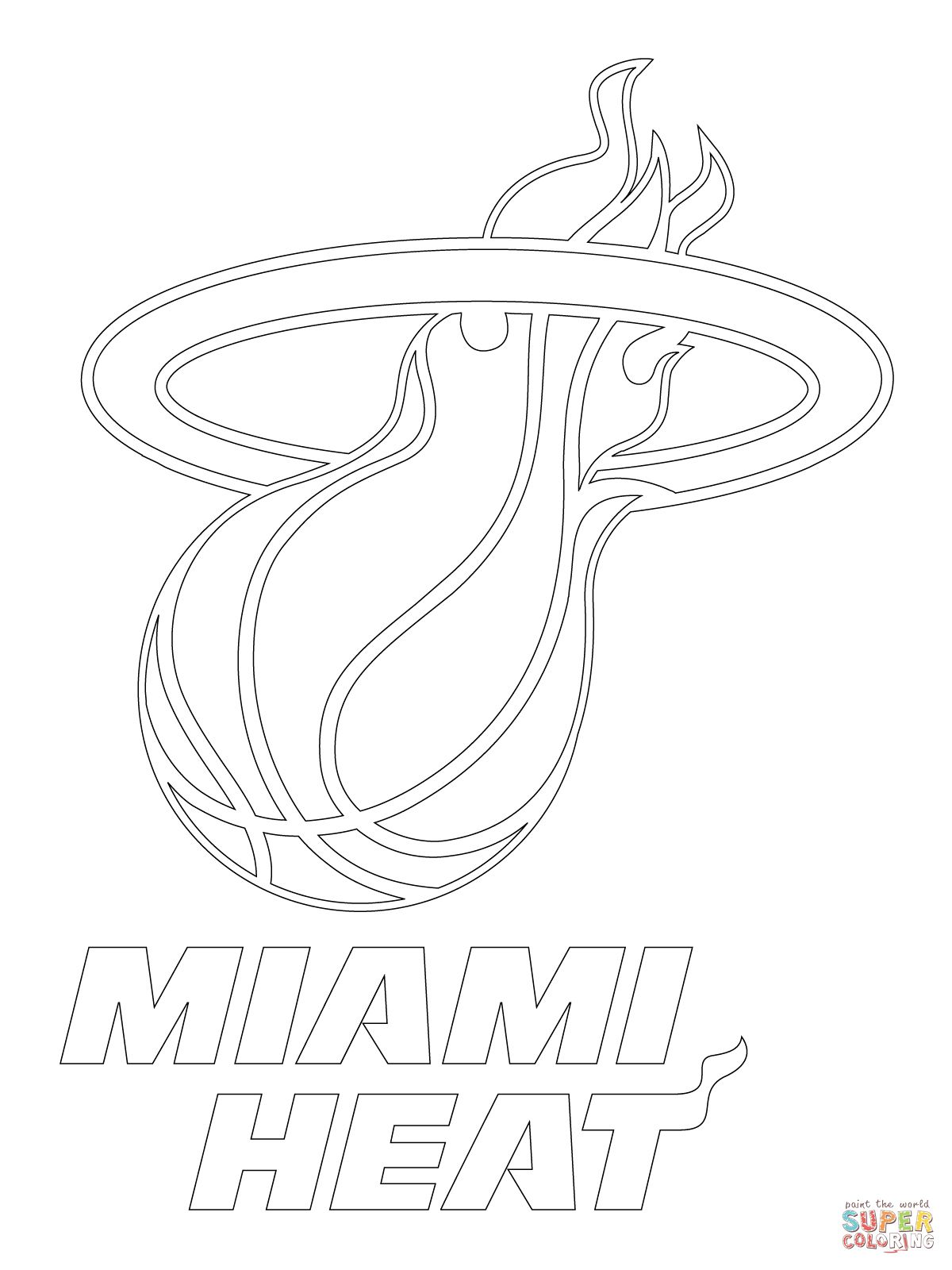 Miami Heat Logo Coloring Page Supercoloring Com Miami Heat Logo