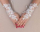 White Angel, silver frame ivory lace wedding gloves fingerless gloves french lace vampire costume free ship rose