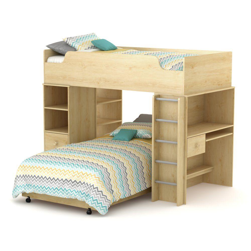 South Shore Logik Collection Loft Bed Natural Maple Bunk Beds