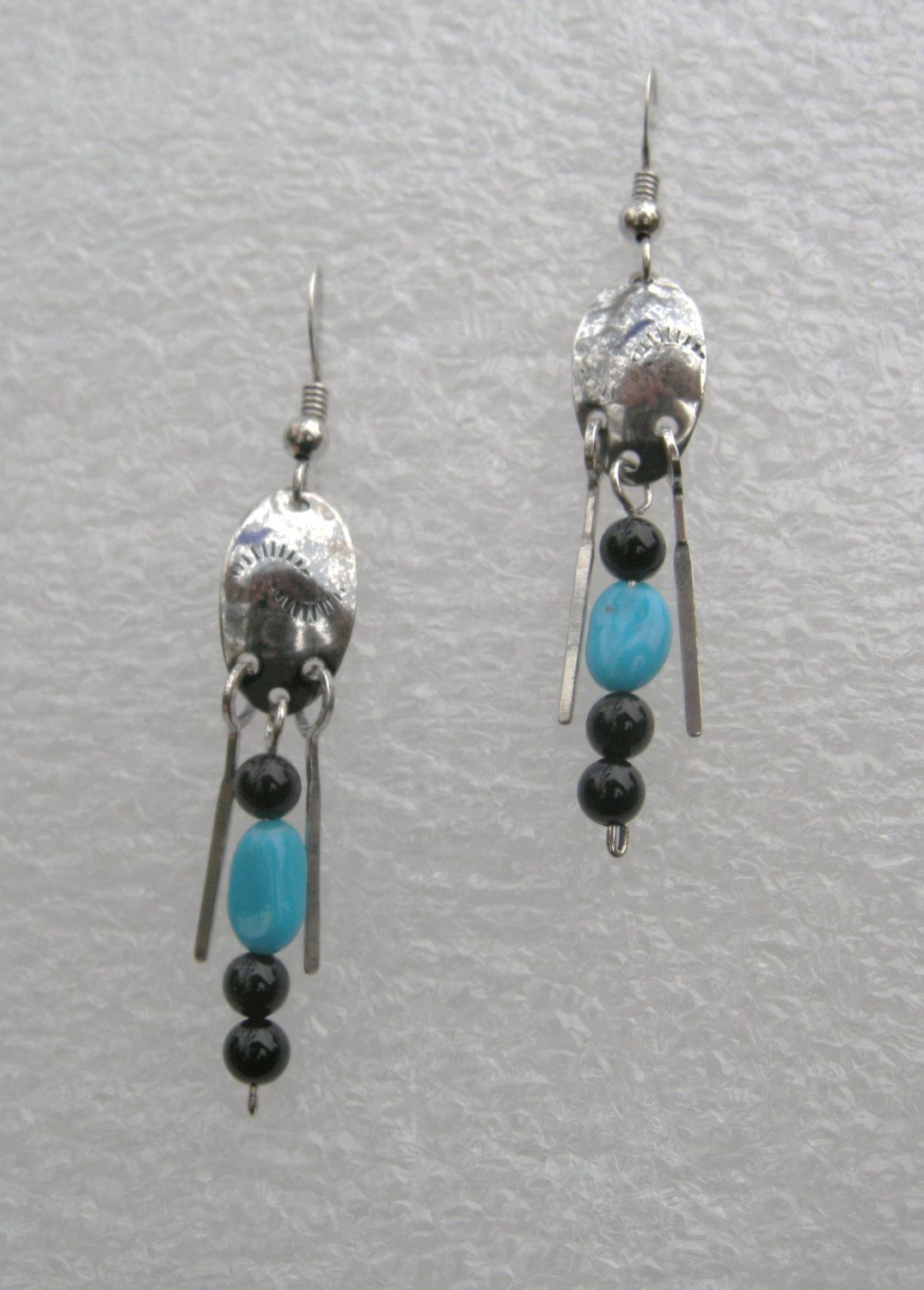 EARRINGS, STERLING SILVER 2 in.Elongated Doomed Oval  Disk, 5/8in. Black Onyx and Turquoise nuggets 3/4 inch Hammed Wire Dangles by McWilliamsBopArt on Etsy